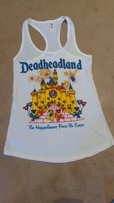 Ladies Small Racerback Tank White Deadheadland Classic