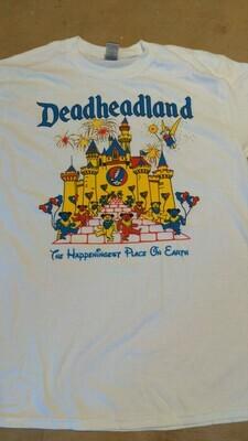 LARGE White  Adult Deadheadland t-shirt (classic)