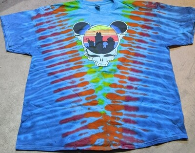 Adult 2XL Tie Dye (blue) Steal Your Ears T-Shirt - short sleeve
