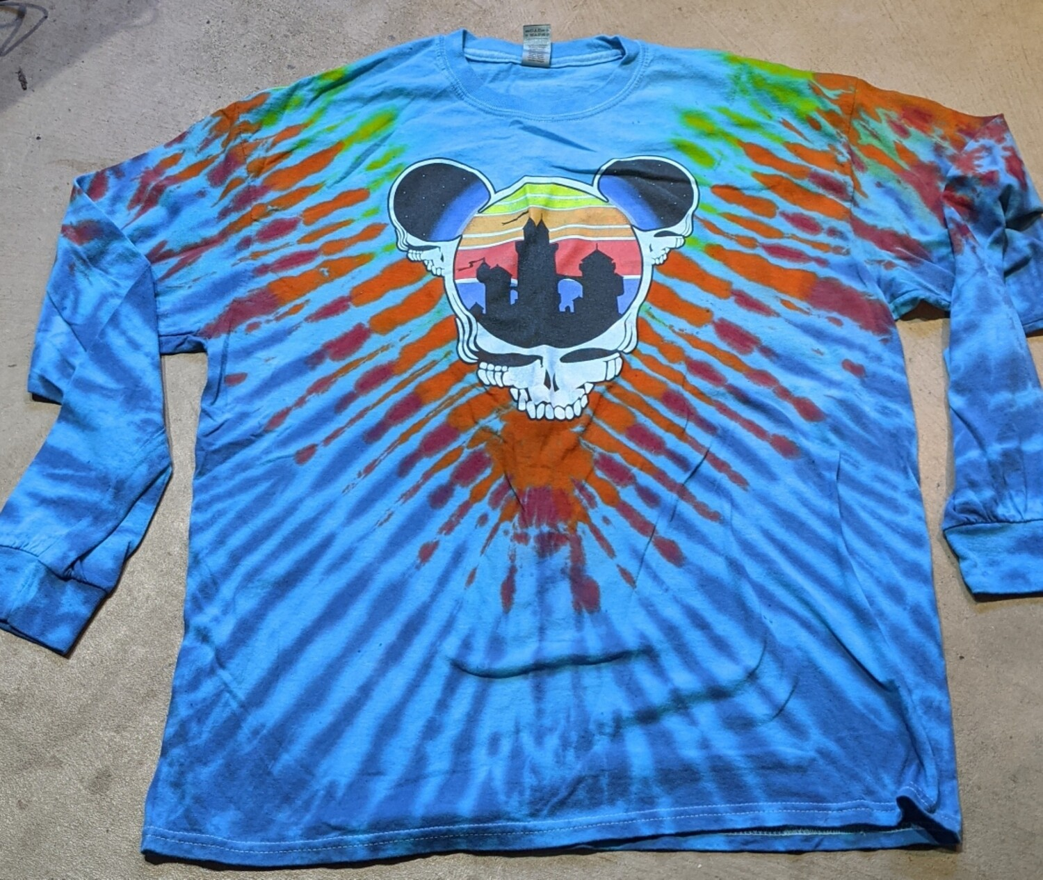 Adult XL LONG SLEEVE Tie Dye (blue) Steal Your Ears T-Shirt
