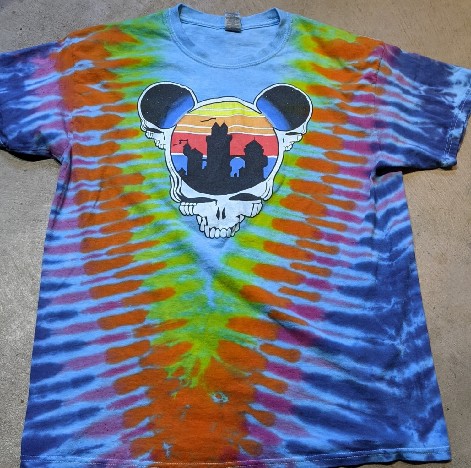 Adult Large Tie Dye (blue) Steal Your Ears T-Shirt - NO BACK PRINT short sleeve