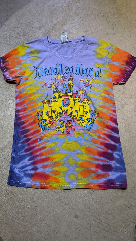 SMALL Ladies purple Tie Dye Deadheadland Classic T-shirt