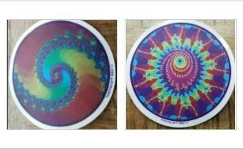 "2 pack, (1) Spiral 5"" & (1) Peacock 6""  fractal Window Stickers - Vintage © 1989/1990FractalVision"