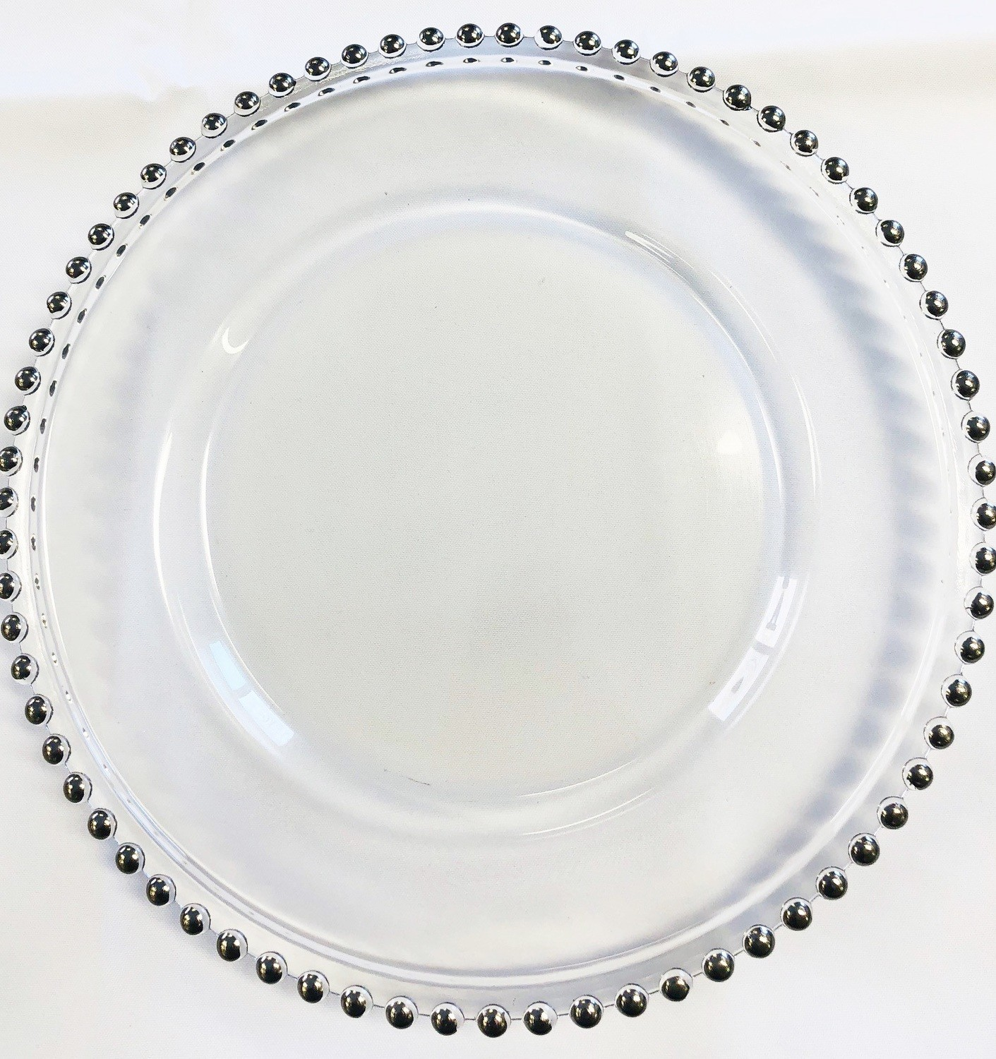 Silver Beaded Glass Charger Plate Rentals