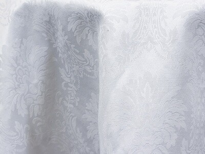 White Damask Tablecloths Rentals
