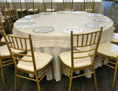 White Hemmed Stitched Tablecloth Rentals