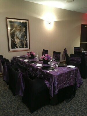 Plum Ribbon Taffeta w/Sequin Accents Table Overlays Rentals