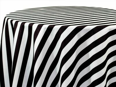 Black and White Stripe Tablecloth Rentals
