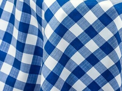 Royal Blue and White Checkered Tablecloth Rentals