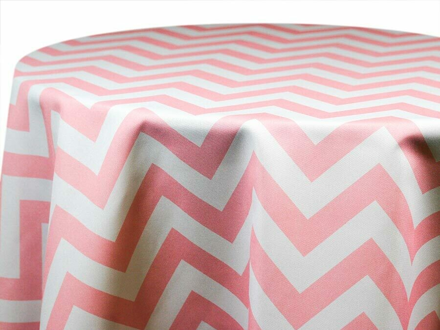Pink and White Chevron Tablecloth Rentals
