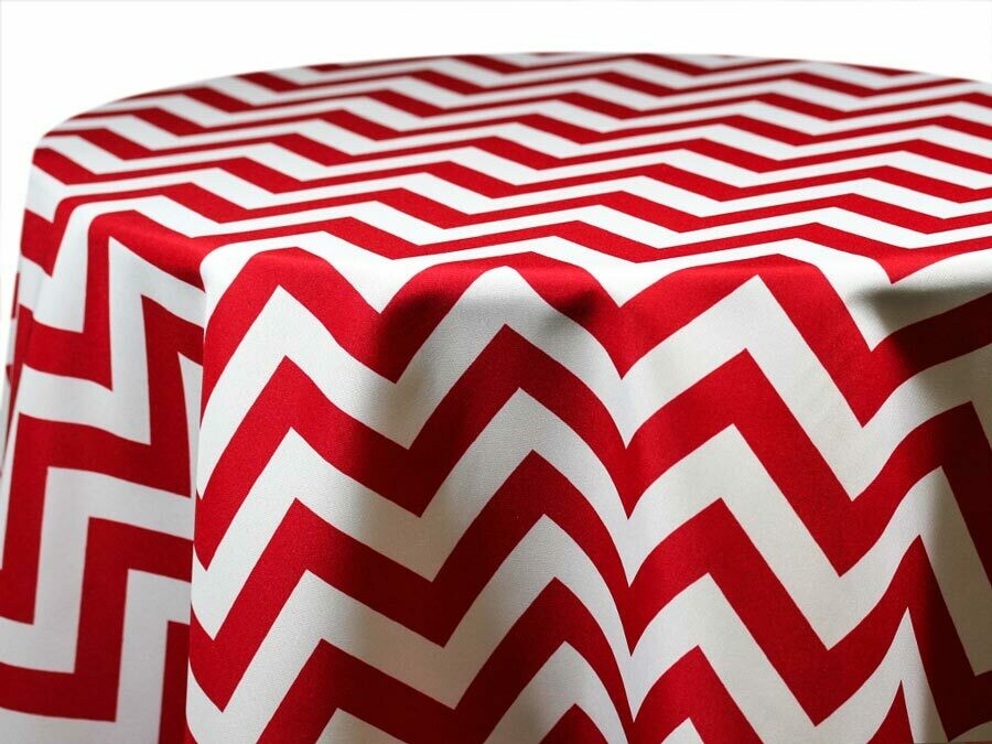 Red and White Chevron Tablecloth Rentals