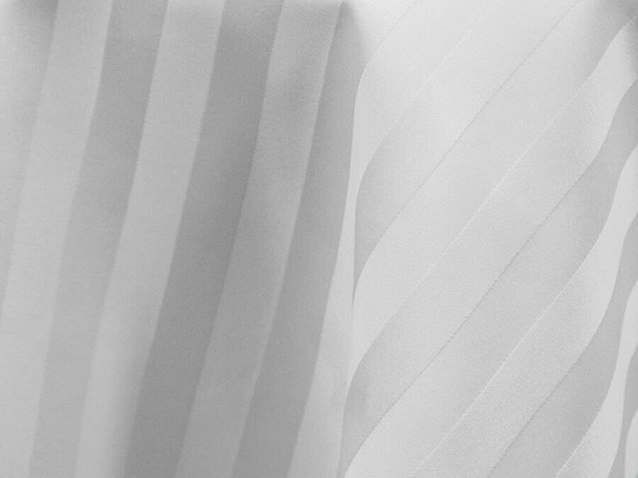 White Satin Stripe Tablecloths Rentals