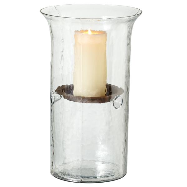 Clear Hammered Pillar Candle Holder Rental