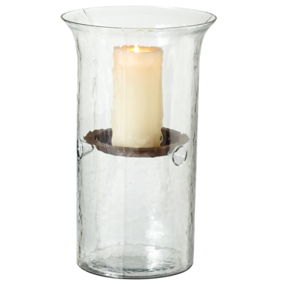 Clear Hammered Pillar Candle Holder Rental