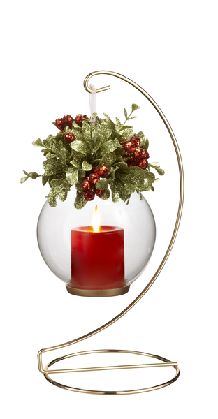 Gold Ornament Stand w/Glass Globe