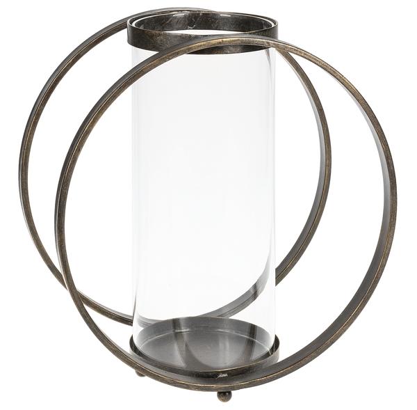 Large Black Circular Pillar Holder