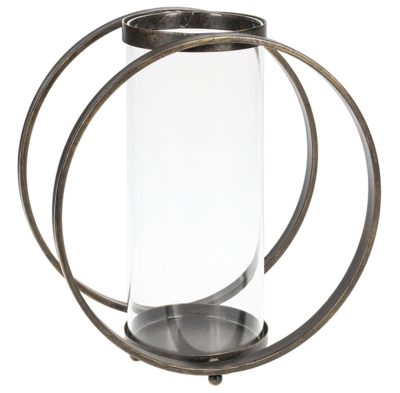 Large Black Circular Pillar Holder