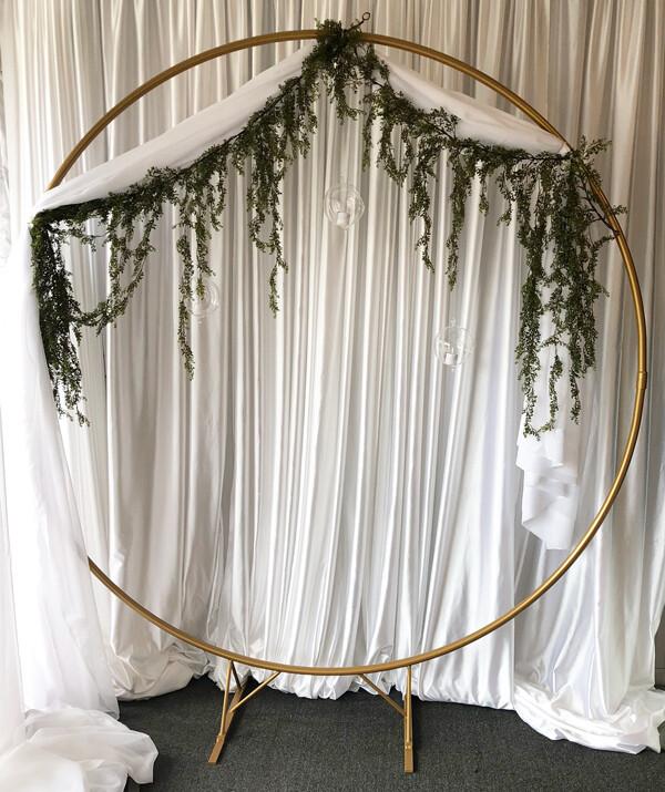 Circle Golden Wedding Arch Rental