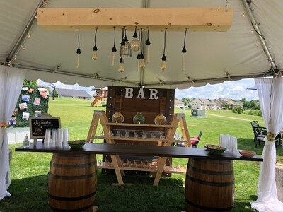 Whiskey Barrel Portable Bar Rental Package