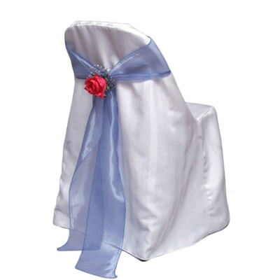 White Folding Chair Cover Rentals - Satin Stripe
