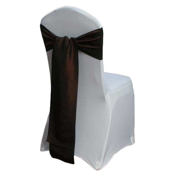 Chocolate Chair Sash Rental - Taffeta