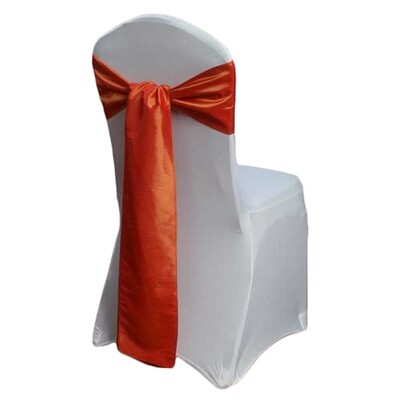 Burnt Orange Chair Sash Rental - Taffeta