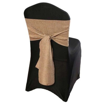 Faux Burlap Chair Sash Rental