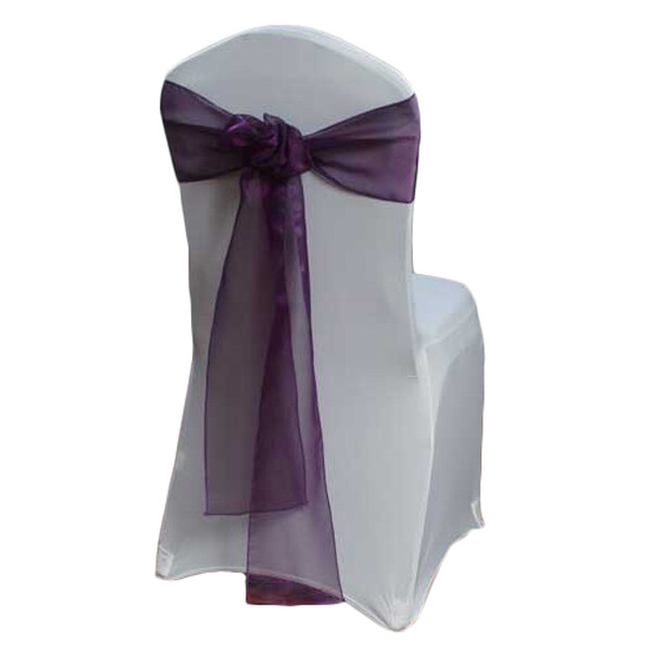 Eggplant Organza Sheer Chair Sashes