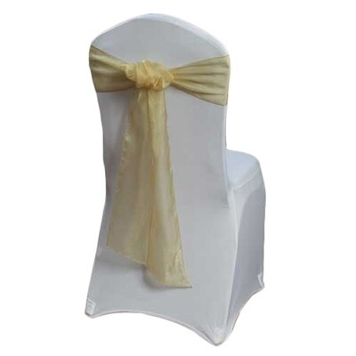 Gold Chair Sash Rental - Organza Sheer