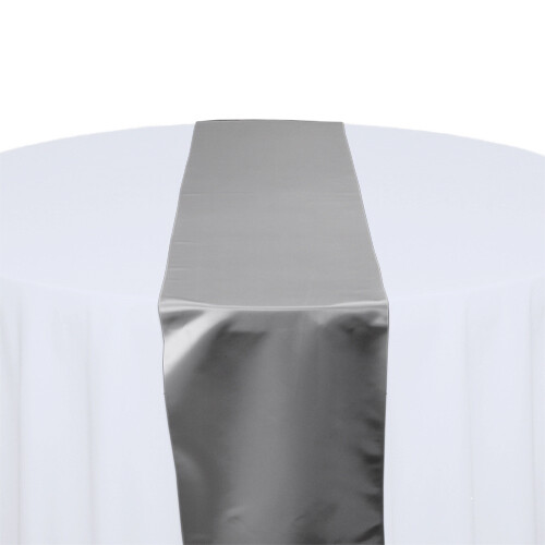 Silver Satin Table Runners Rentals
