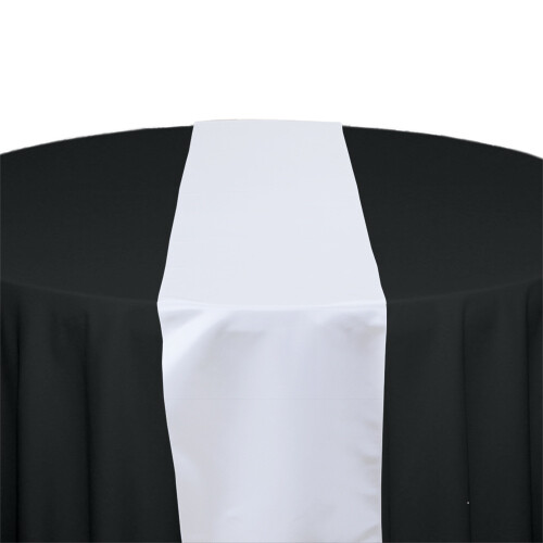 White Satin Table Runners Rentals