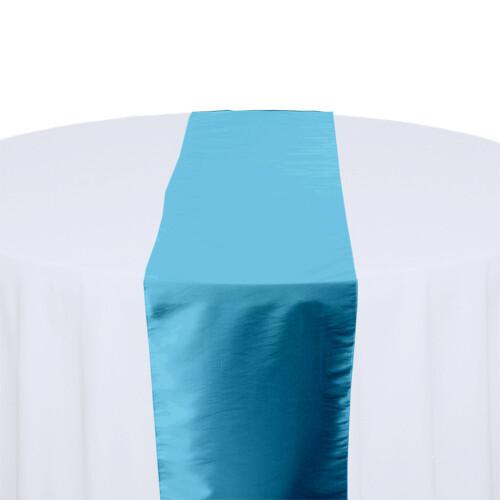 Sky Blue Table Runner Rentals - Taffeta