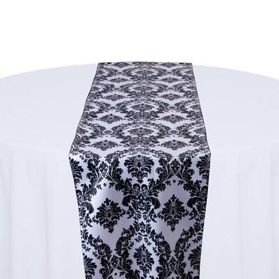 White and Black Damask Table Runner Rentals
