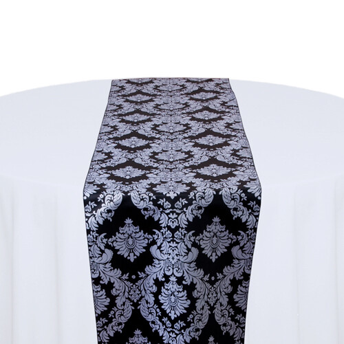 Black and White Damask Table Runner Rentals