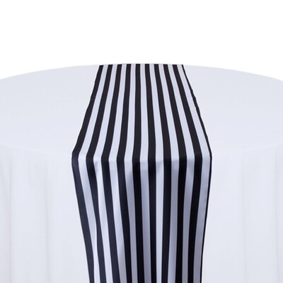 Black and White Stripe Table Runner Rentals - Polyester