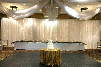 Italian Lighting Sheer Wedding Backdrop