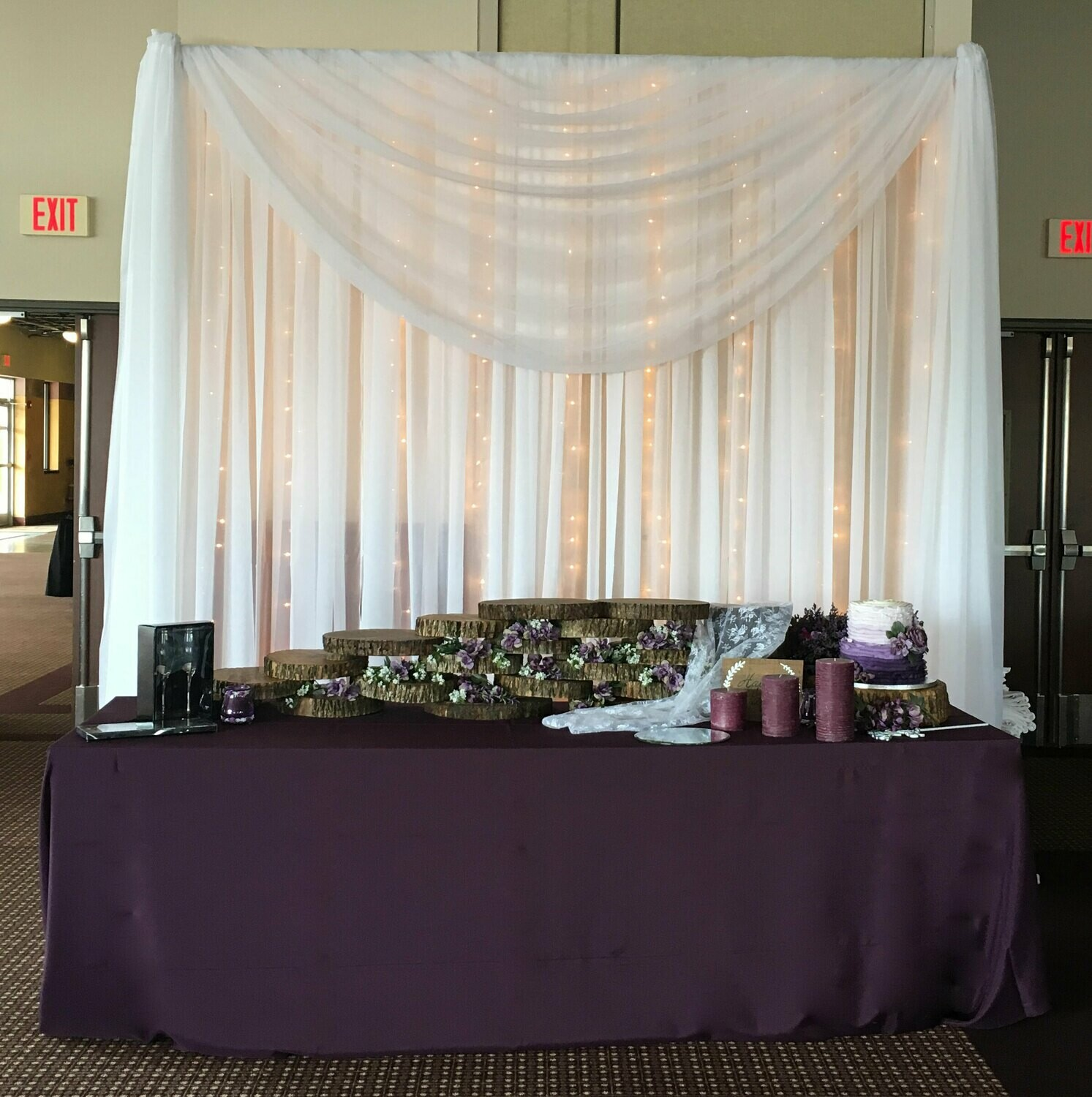 Cake Table Sheer Voile Wedding Backdrop - Iowa Only