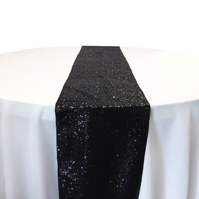 Black Sequin Table Runner Rentals