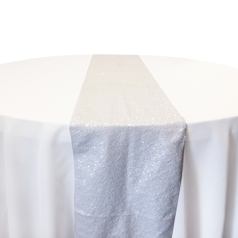 White Sequin Table Runner Rentals
