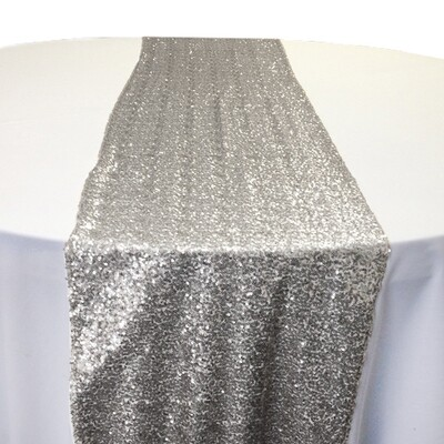 Silver Sequin Table Runner Rentals - Mesh Backing