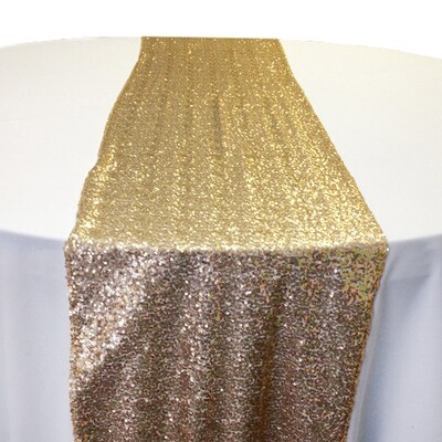 Creative Gold Sequin Table Runner Rentals - Mesh Backing