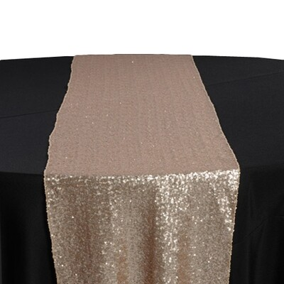 Champagne Sequin Table Runner Rentals - Mesh Backing