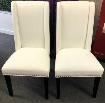 Bride & Groom Chairs - White Leather - Set of 2