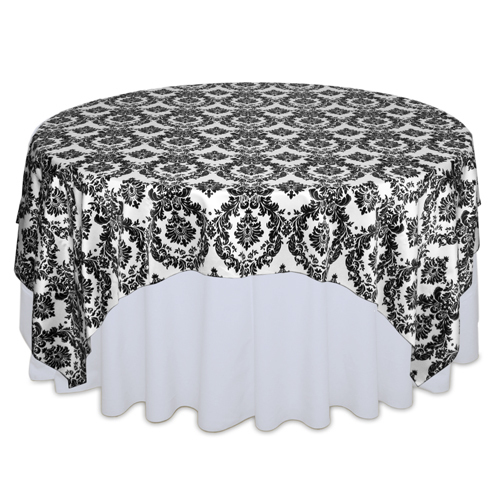 White & Black Damask Satin Overlay Rental