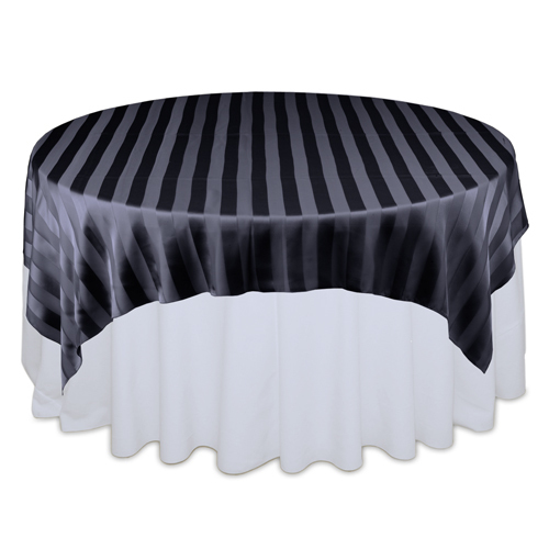 Black Eternity Sheer Stripe Table Overlays