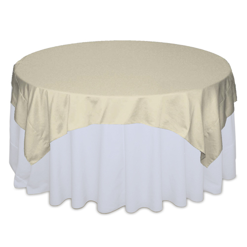 Champagne Matte Satin Table Overlay Rental