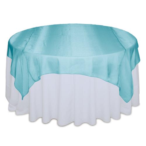 Tiffany Blue Sheer Table Overlay Rental