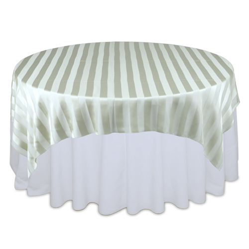 Sage Green Sheer Stripe Table Overlays Rental