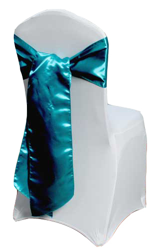 Teal Satin Chair Sashes (Light)