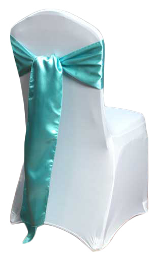Turquoise Satin Chair Sashes (Light)